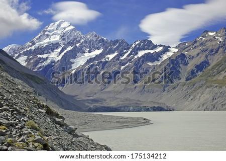 Mount Cook / Aoraki, South Island of New Zealand - stock photo