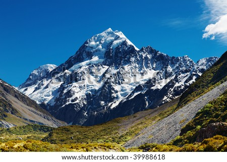 Mount Cook, highest peak of New Zealand - stock photo