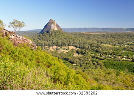 Mount Coonowrin from Mount Ngungun (Glasshouse Mountains) - stock photo