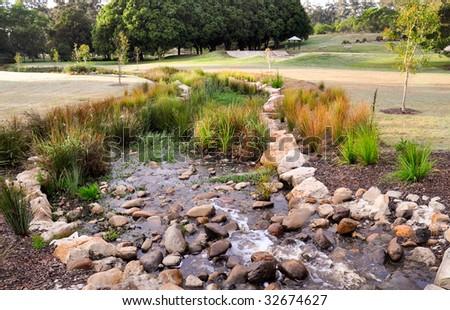 Mount Cotton park's stream - stock photo