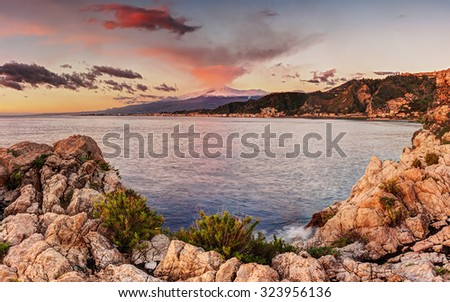 Mount Etna at sunrise seen from Taormina, Sicily			 - stock photo