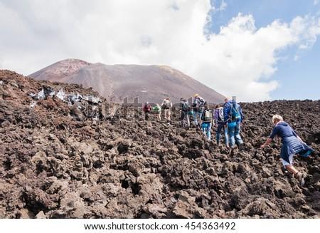 MOUNT ETNA, ITALY - SEPTEMBER 16, 2015: Excursion on mount Etna, Sicily. - stock photo