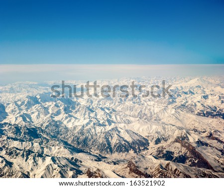 Mount Everest, aerial view - stock photo