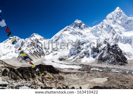 Mount Everest and Himalayas beautiful mountain peaks autumn landscape and Khumbu glacier with Everest Base Camp. Changtse 7543m, Mt Everest 8859m, Nuptse 7861m in Everest National Park. - stock photo