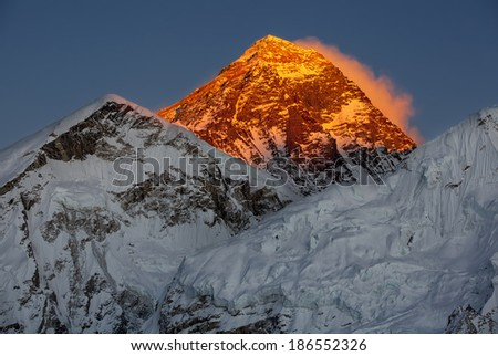 Mount Everest and the sunset