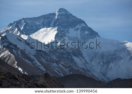 Mount Everest early in the morning taken from the base camp in Tibet located at 5200 m. April 2013 - stock photo