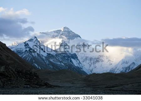 Mount Everest in tibet, china - stock photo