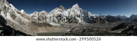 Mount Everest (8,848 m) and the Khumbu Glacier from the summit of Kala Patthar (5,644 m) in Khumbu region, Himalayas, Nepal. - stock photo