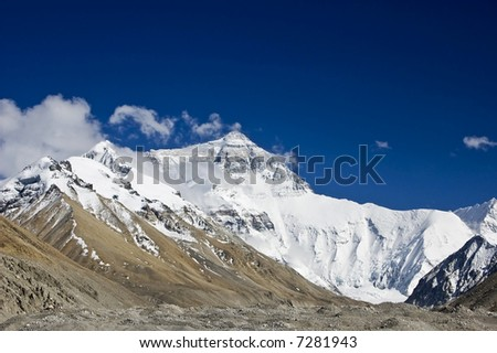 Mount Everest, North face - stock photo