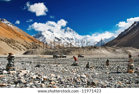 Mount Everest, North face, base camp - stock photo