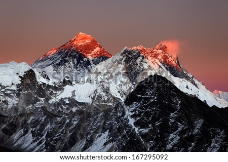 Mount Everest, Nuptse and Lhotse at sunset, from Gokyo Ri, Nepal Himalaya - stock photo