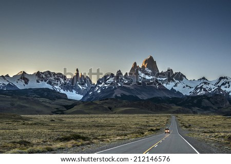Mount Fitz Roy at sunrise. Los Glaciares National Park - stock photo