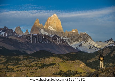 Mount Fitz Roy in Los Glaciares National Park, Argentina, a UNESCO world heritage area.  - stock photo
