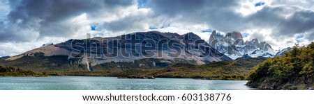 Mount Fitz Roy in Patagonia in Argentina as seen from Laguna Capri on a partly cloudy day from El Chalten
