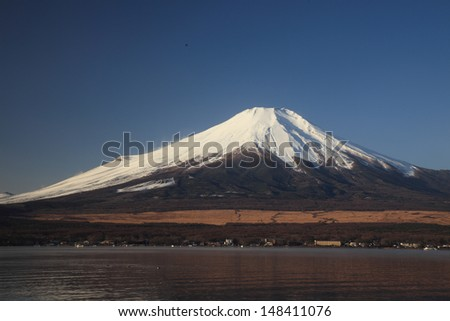 Mount Fuji and Lake Yamanaka - stock photo