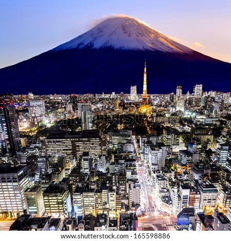 Mount Fuji and tokyo city in twilight - stock photo