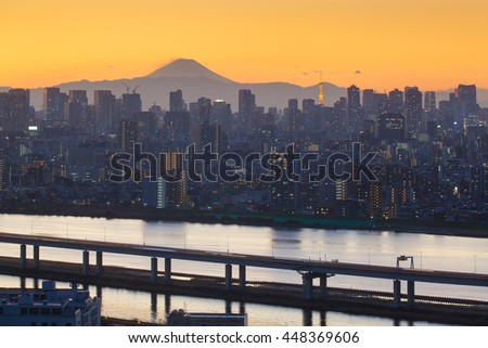 Mount Fuji and Tokyo city view in sunset time - stock photo