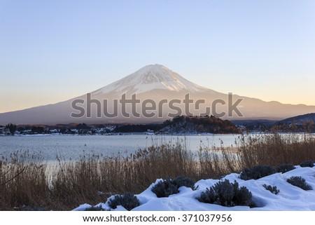 Mount fuji at kawaguchiko lake in winter - stock photo