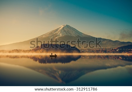 Mount fuji at Lake kawaguchiko,Sunrise , vintage - stock photo