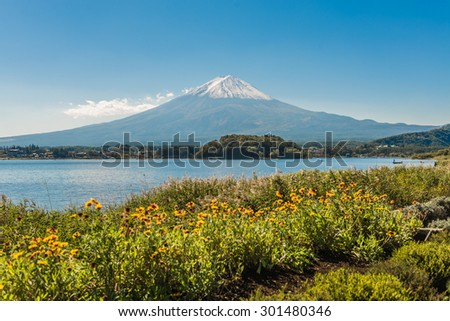 Mount Fuji from Kawaguchiko in march.Snow-capped Mount Fuji with clear sky background