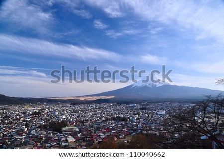 Mount Fuji from the nearby hill - stock photo