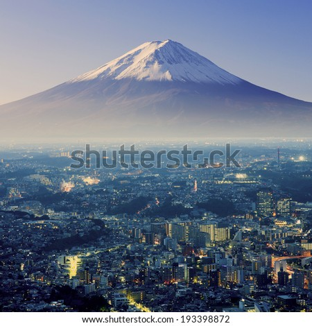 Mount Fuji. Fujiyama. Aerial view with cityspace surreal shot. Japan - stock photo