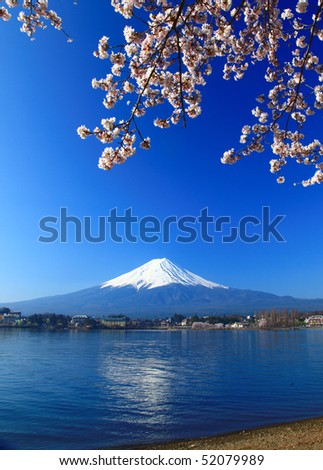 Mount Fuji on Lake Kawaguchi, Japan - stock photo