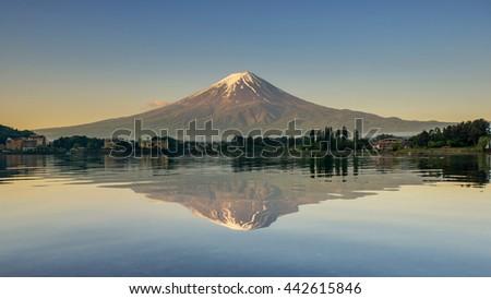 Mount Fuji reflected in Lake , Japan. - stock photo