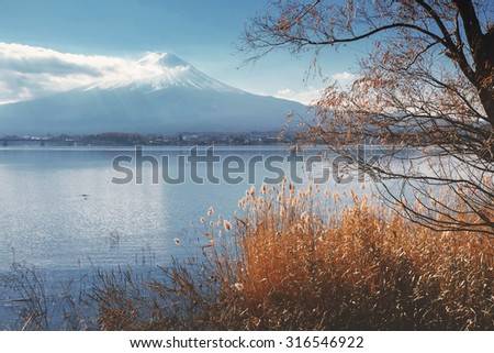 Mount Fuji view from around the Kawaguchi lake in Autumn with retro style effect - stock photo