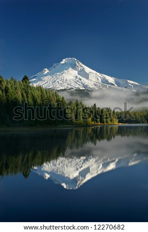 Mount hood reflected in trillium lake oregon - stock photo
