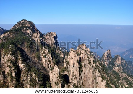 Mount Huangshan Anhui scenery - stock photo