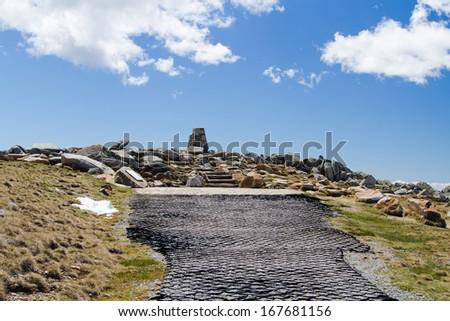 Mount Kosciuszko peak in the Snowy Mountains, New South Wales, Australia. Kosciuszko National Park. - stock photo