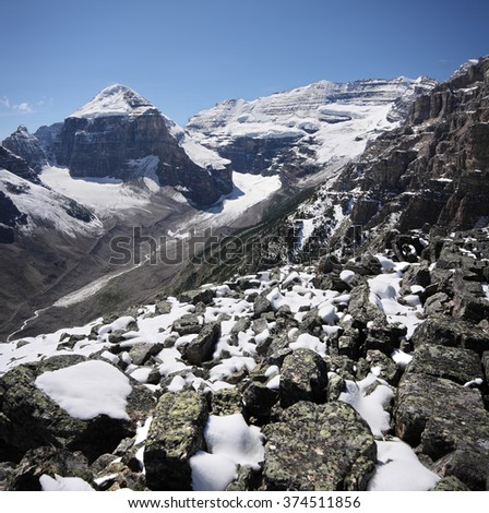 Mount Lefroy (left), Mount (right), Devil's Thumb Hike, Scramble Lake Louise, Banff National Park, Alberta, Canada Picture taken on August 22, 2015 - stock photo