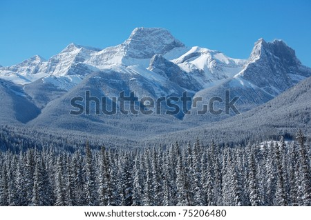 Mount Lougheed near Banff in the Canadian Rockies - stock photo
