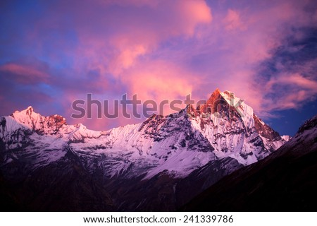 Mount Machapuchare (Fishtail) at sunset in the Nepal Himalaya. Machhapuchchare is a mountain in the Annapurna Himal of north Central Nepal.