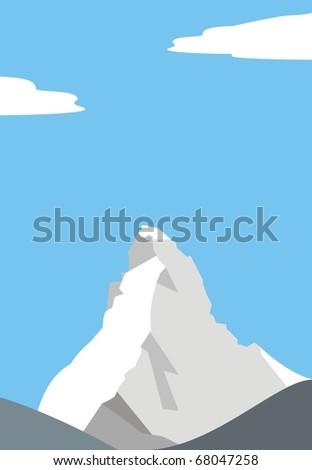 Mount Matterhorn (Cervino) - beautiful peak in the Alps â?? illustration - stock photo