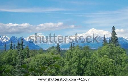 Mount McKinley and Foraker in Denali National Park, Alaska. - stock photo