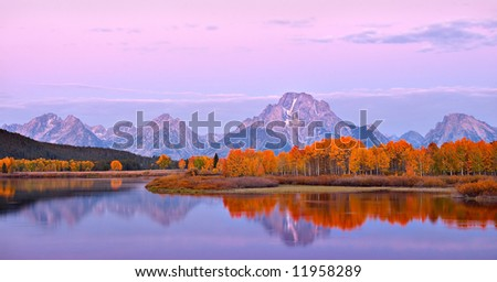 Mount Moran Sunrise - stock photo