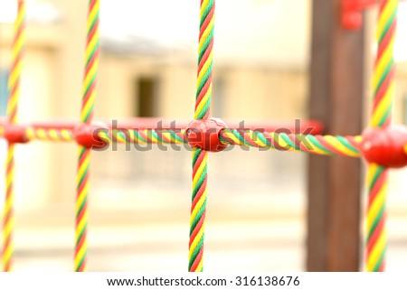 mount nets for sport steeplejack in kindergarten - stock photo