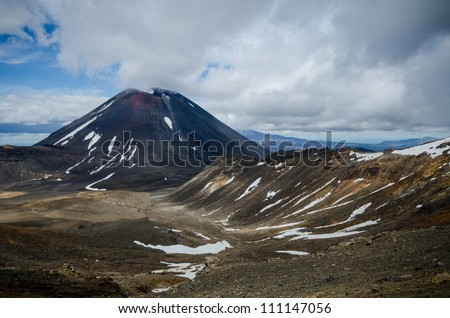 Mount Ngauruhoe and Mount Tongariro, Tongariro National Park, New Zealand - stock photo