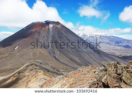 Mount Ngauruhoe and Mt. Ruapehu, Tongariro national park, New Zealand - stock photo