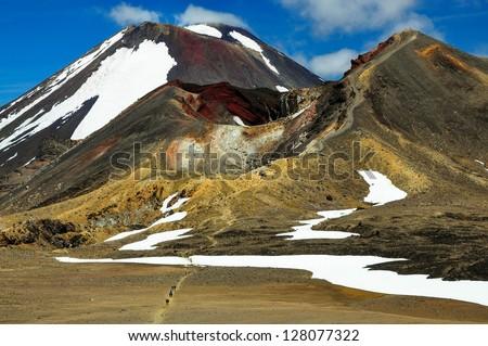 Mount Ngauruhoe, Mount Tongariro and Red Crater, Tongariro Alpine Crossing, North Island, New Zealand - stock photo