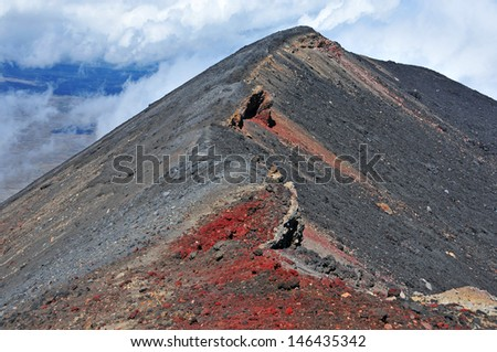 Mount Ngauruhoe Summit, Tongariro National Park, New Zealand - stock photo