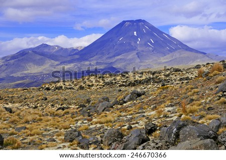 Mount Ngauruhoe, Tongariro National Park, North Island, New Zealand - stock photo