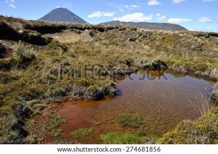 Mount Ngauruhoe view on Tongariro track in New Zealand - stock photo