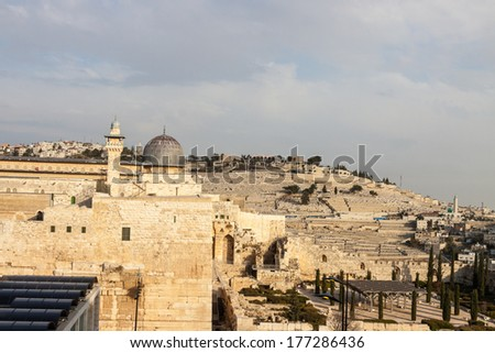 Mount Olives and dome of mousque of Al-aqsa in Jerusalem