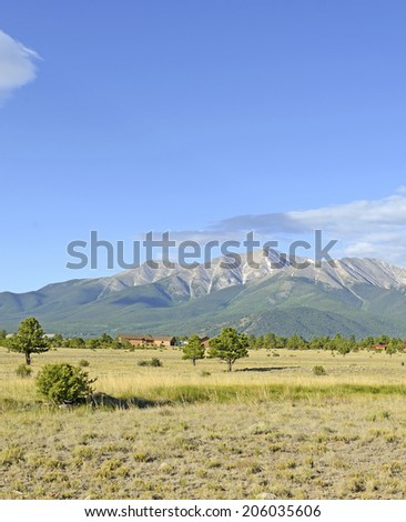 Mount Princeton in the Collegiate Peaks, Sawatch Range, Colorado Rockies - stock photo