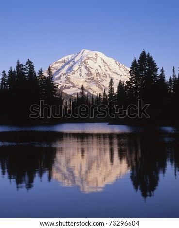 Mount Rainier and Eunice Lake, Mount Rainier National Park; Washington State, USA - stock photo