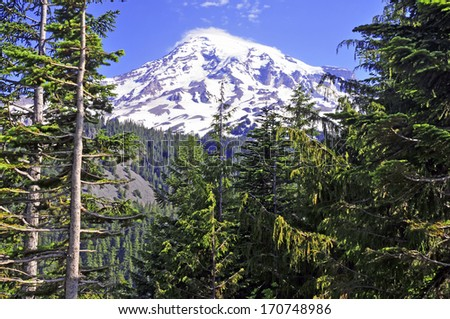 Mount Rainier, Cascade Range, Washington State, USA - stock photo