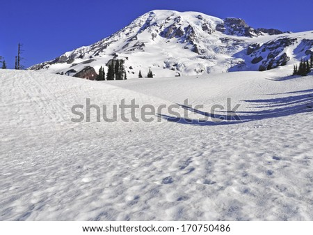 Mount Rainier, Cascades Range, Washington State - stock photo
